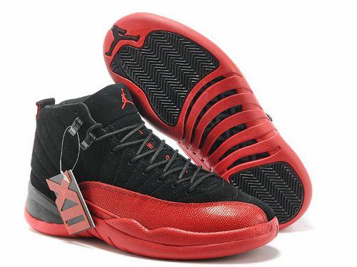 f92ed958865 Men Air Jordan AJ12 Jordan retro 12 Basketball Shoes A+ Suede Black Red
