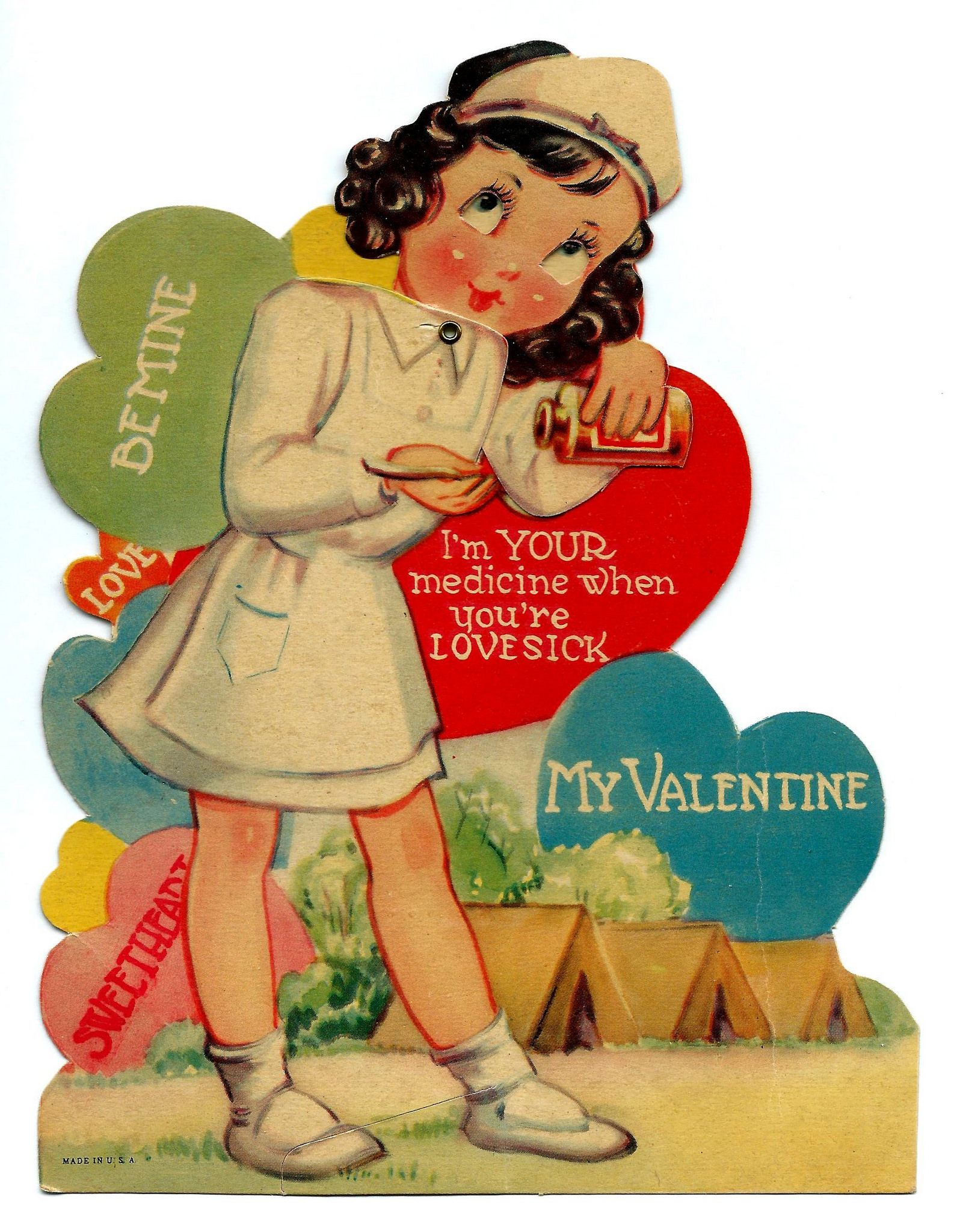 Vintage Mechanical Eyes Head Moves Valentine Day Greeting Card I M Your Medicine When You Re Lovesick Made In Usa Circa 1940 Vintage Valentines Vintage Valentine Cards Nursing Valentine
