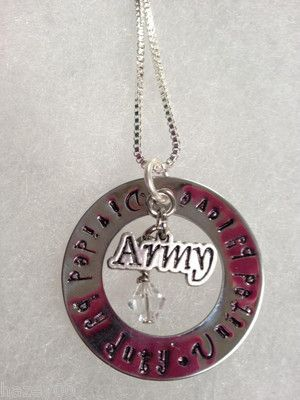 Divided By Duty United By Love Army Hand stamped Necklace
