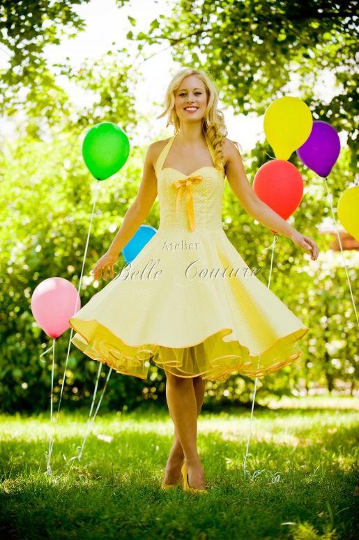 Kleid 50er gelb