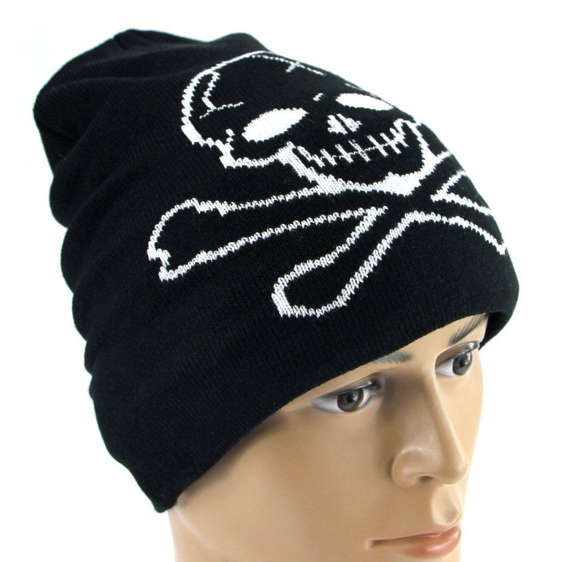 Vakabva Skull and Crossbones Beanie Cap Winter Skull Beanie Caps For Men  Unisex Black Knitted Beanie Hat For Running    Learn more by visiting the  image ... ab4d786705d