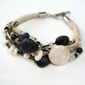 Make an earthy layered bracelet using natural beads, hemp and leather.