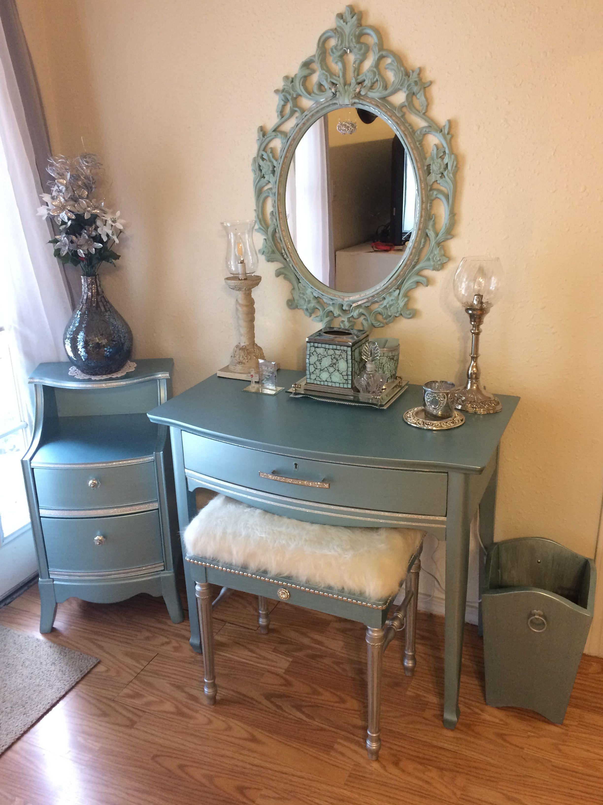 Metalic blue desk/vanity Vanity chair, Blue desk, Vanity