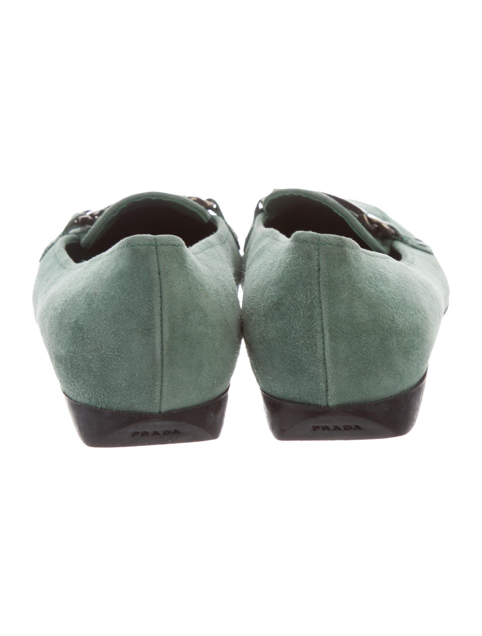 baa9f275411 Jade suede Prada square-toe loafers with silver-tone logo accent at vamps  and