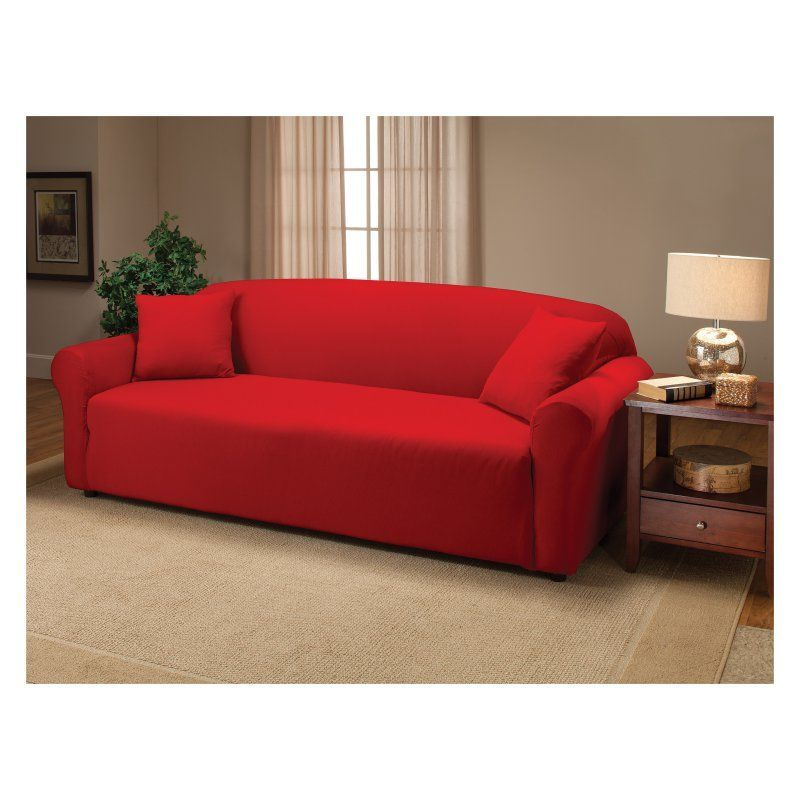 Exceptionnel Madison Industries Solid Jersey Sofa Cover Red   JER SO RD H