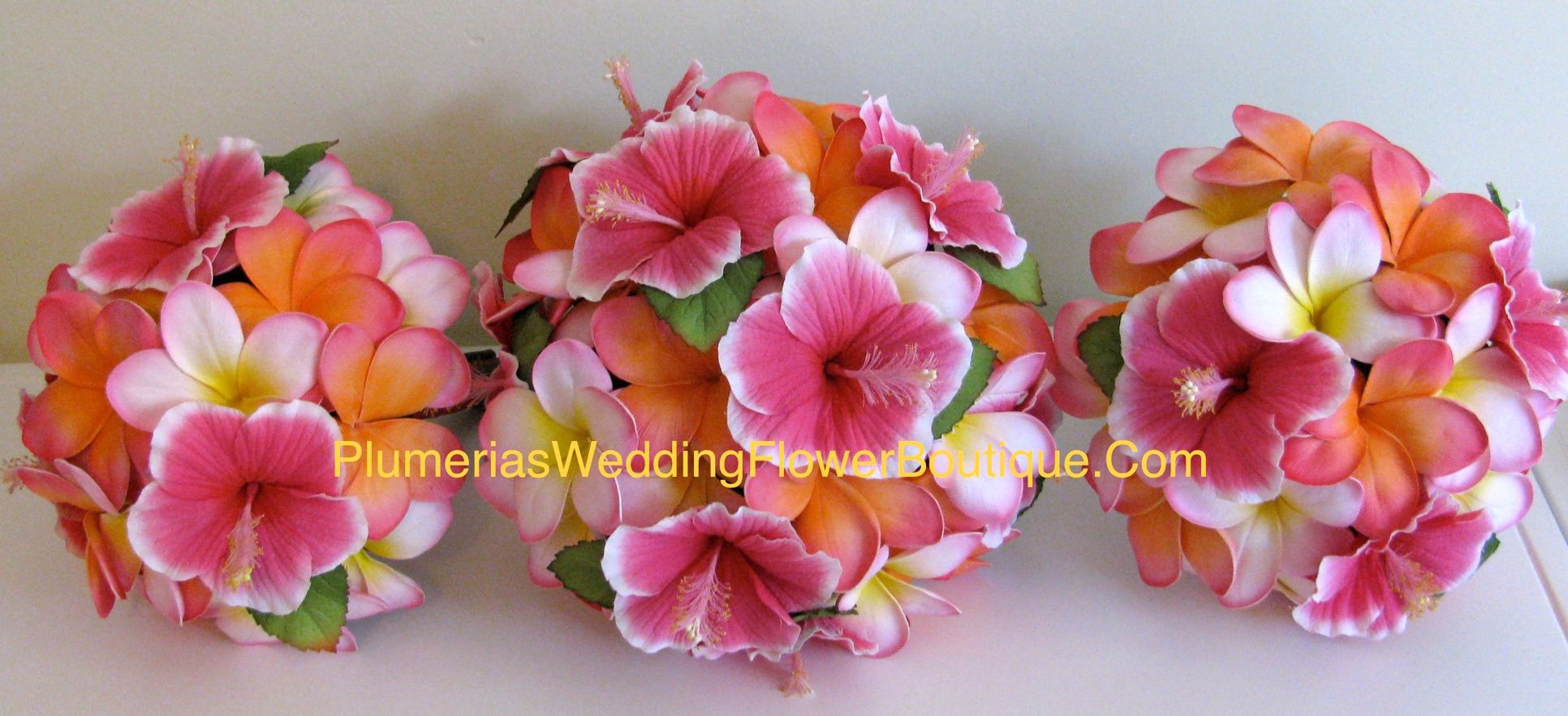 Orange And Pink Bride Bouquet Calalillies Plumeria Hibiscus And