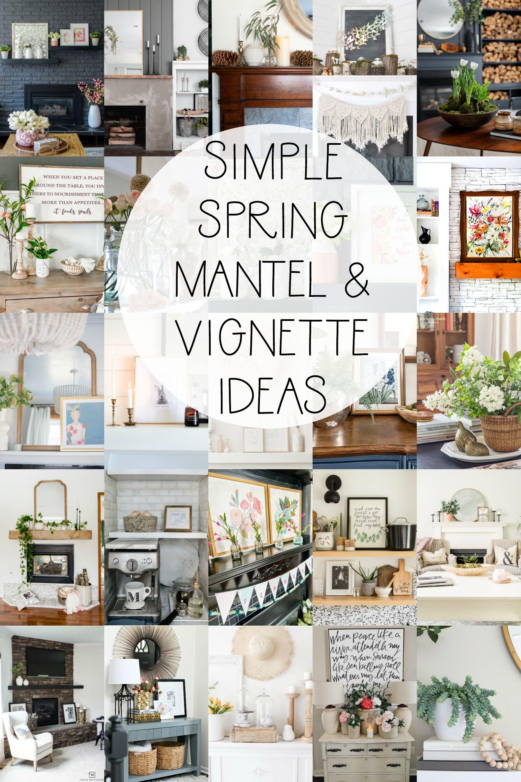 Simple Pink Spring Mantel Decor Spring Home Decor Decor
