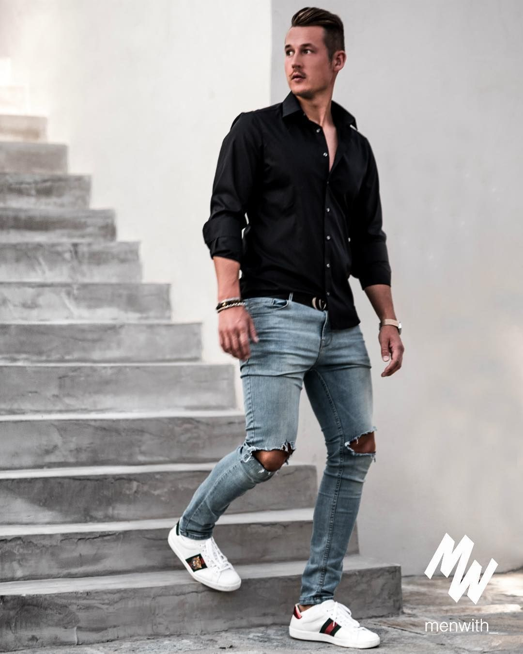 Ripped jeans outfit ideas for men man outfit