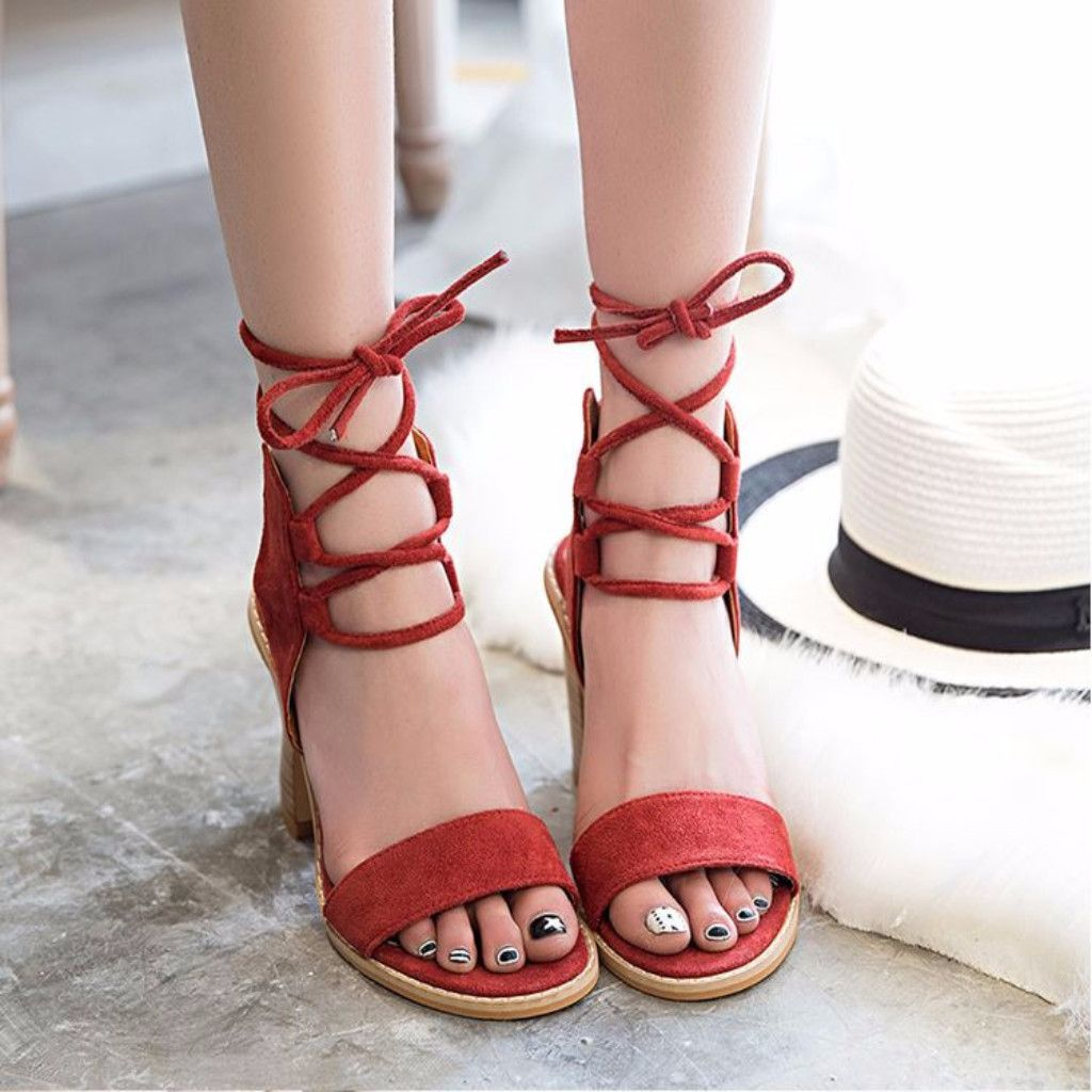 89d33d9811a4 Thick Heels Strappy Suede Women Lace Up Sandals