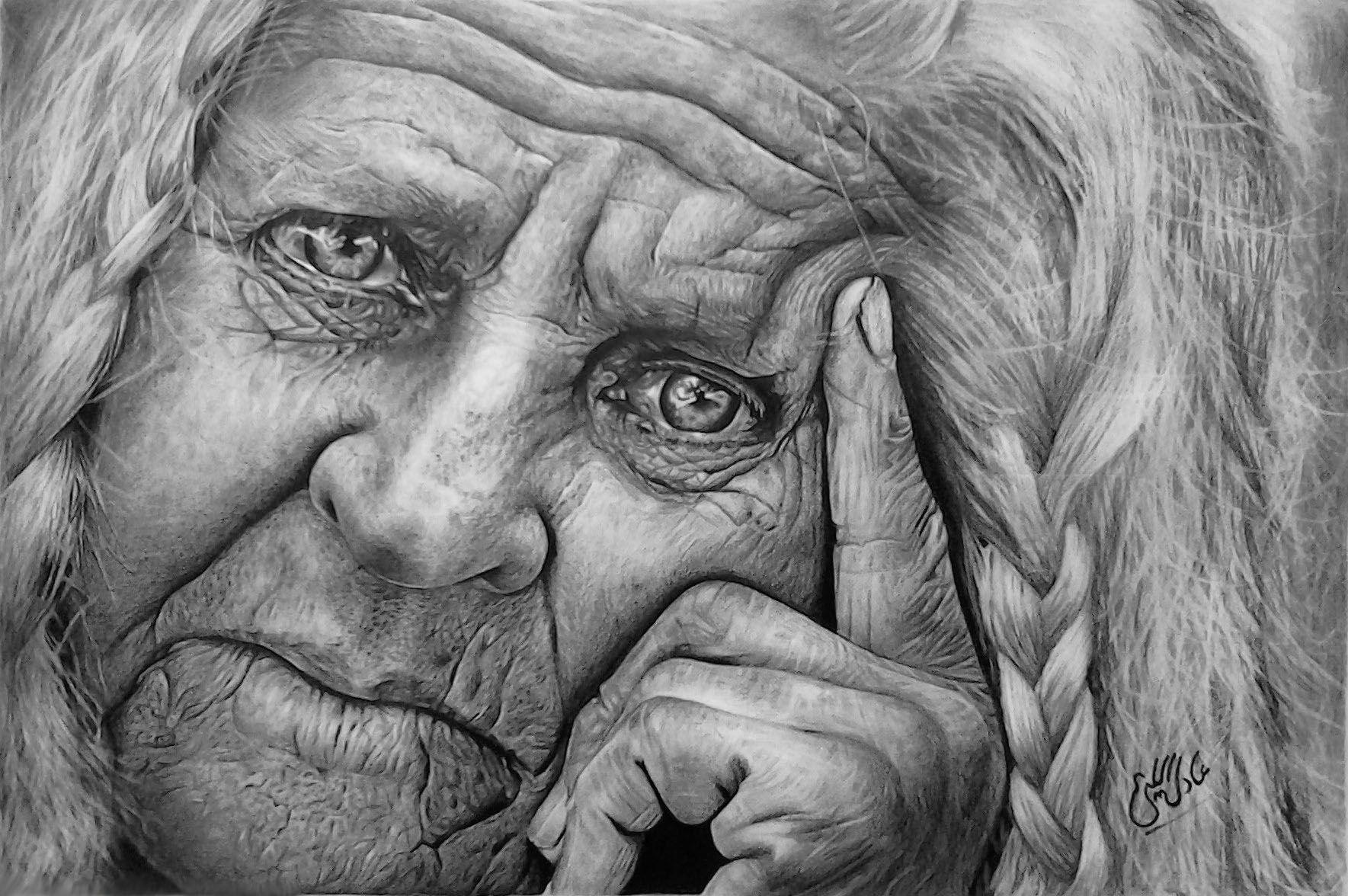 Старый человек картинки нарисованные