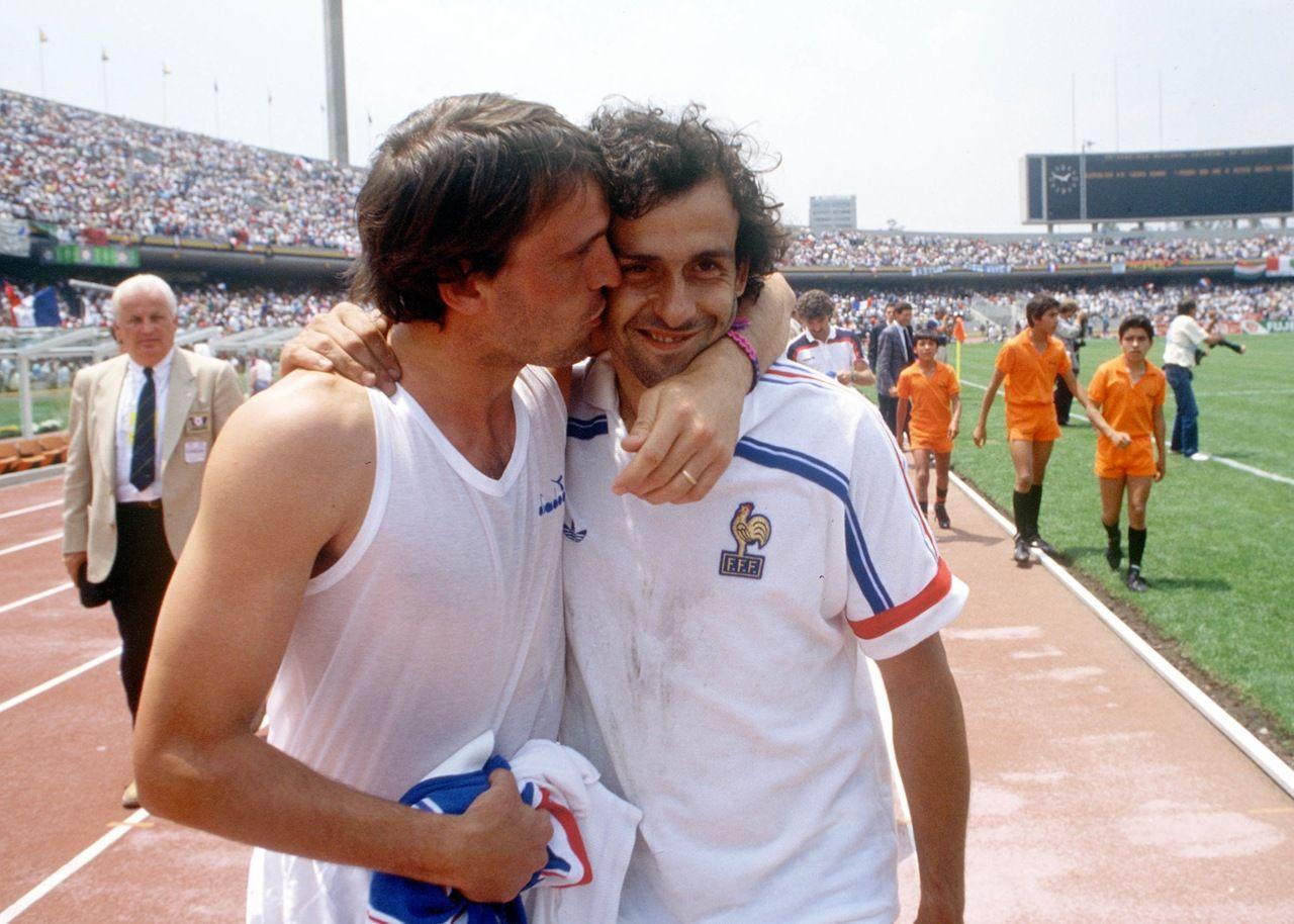 Marco Tardelli Italie et Michel Platini France