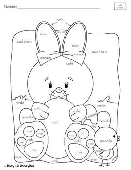 Spanish Wordsthis Is A 1 Page Freebie To The Differentiated Easter Coloring Easter Coloring Pages Easter Colouring Coloring Pages