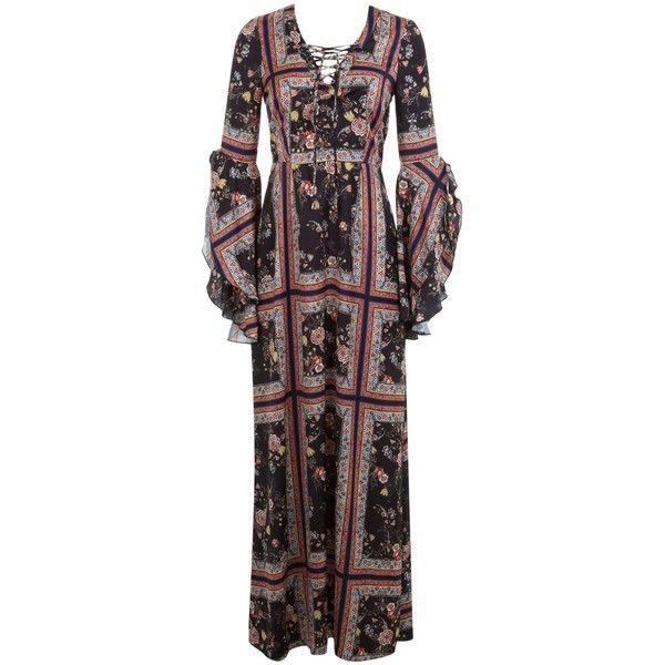 Miss Selfridge Scarf Print Maxi Dress ($73) ❤ liked on Polyvore featuring dresses, clearance, scarf print maxi dress, black bohemian dress, sleeve dress, lace up front dress and black sleeve dress