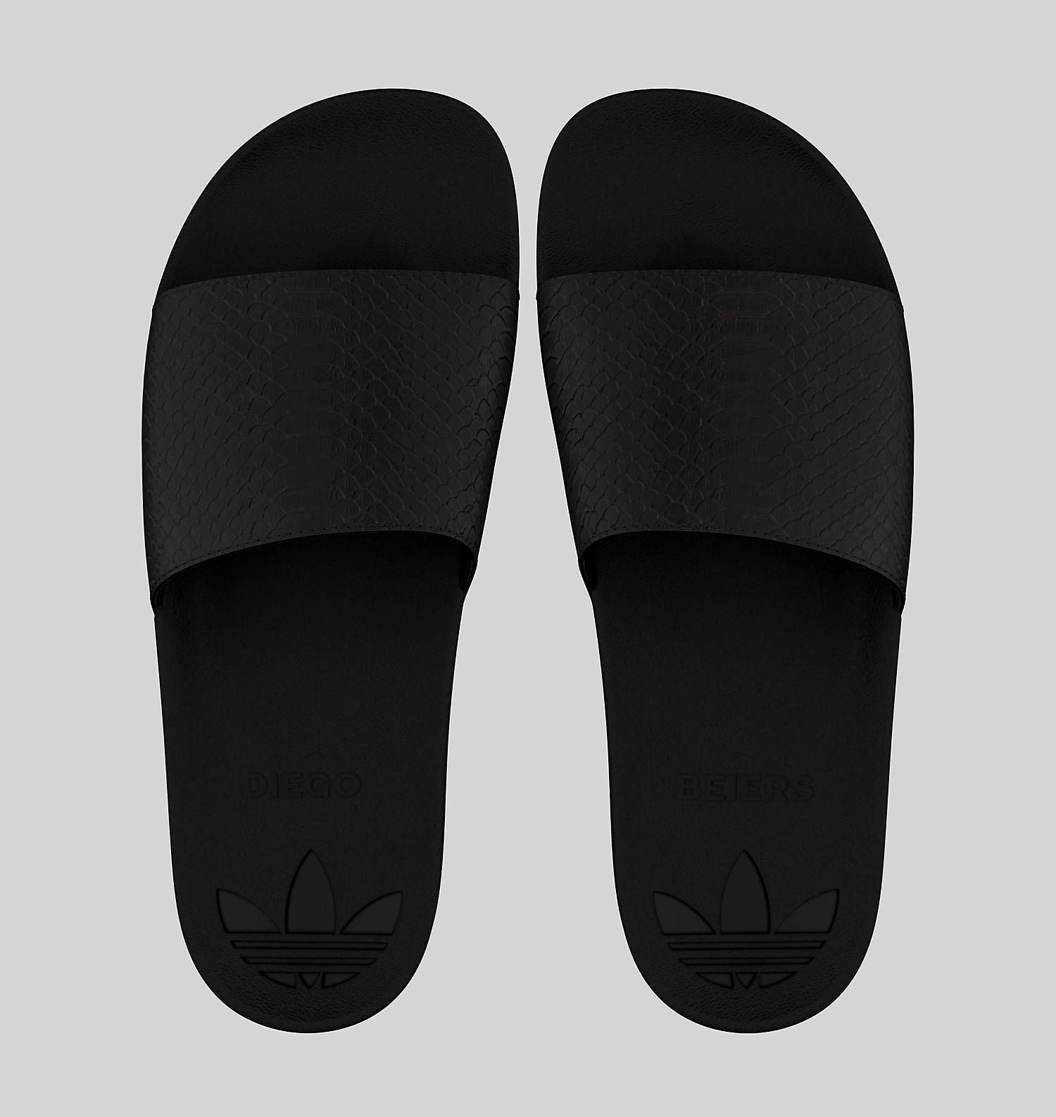 Adidas Adilette all black croc embossed custom slides  6c9612682