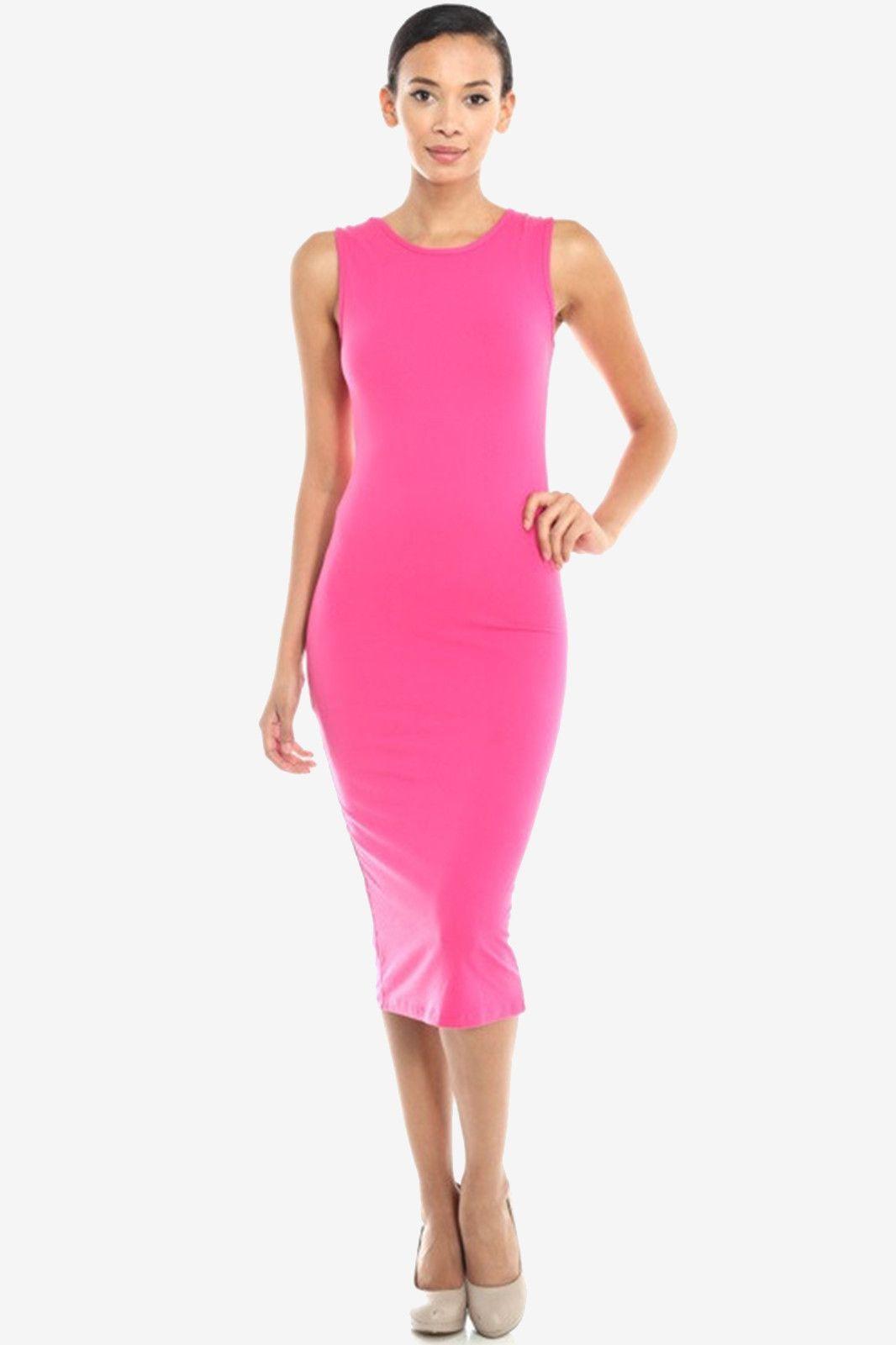 Sleeveless Bodycon Midi Dress - Fuchsia   Stella\'s Fashion Dress ...