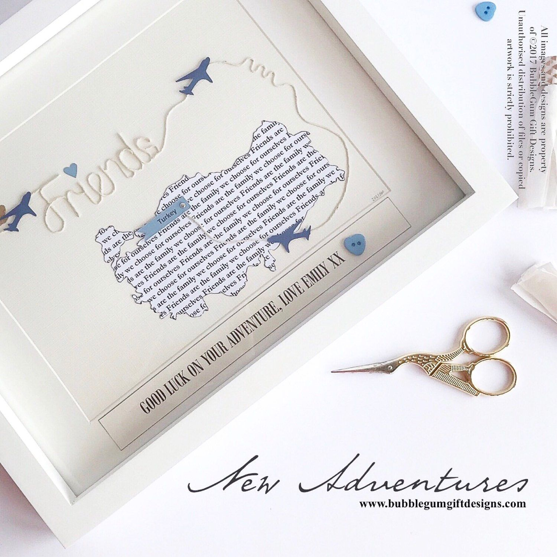 Personalised friend gift birthday word art map travel keepsake bubblegumgiftdesigns shared a new photo on etsy gumiabroncs Choice Image