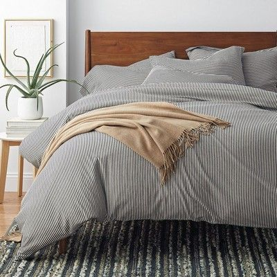 The Jasper Cotton Jersey Duvet Cover Is Decked In Classic Stripes Yarn Dyed In An Irresistible N Outdoor Cushions And Pillows Striped Duvet Covers Bed Styling