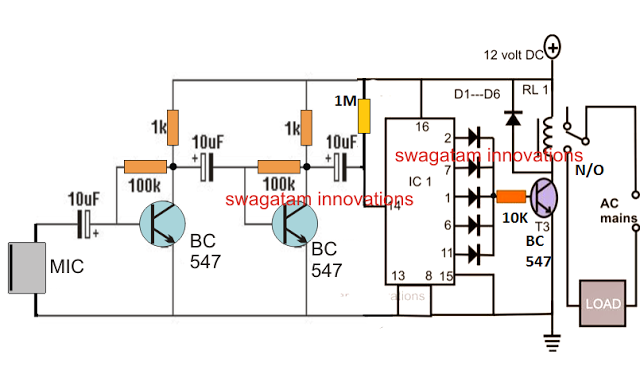 Simple Clap Switch Circuit Diagram | Usb 3 7v Li Ion Battery Charger Circuit Auto Cut Off Current