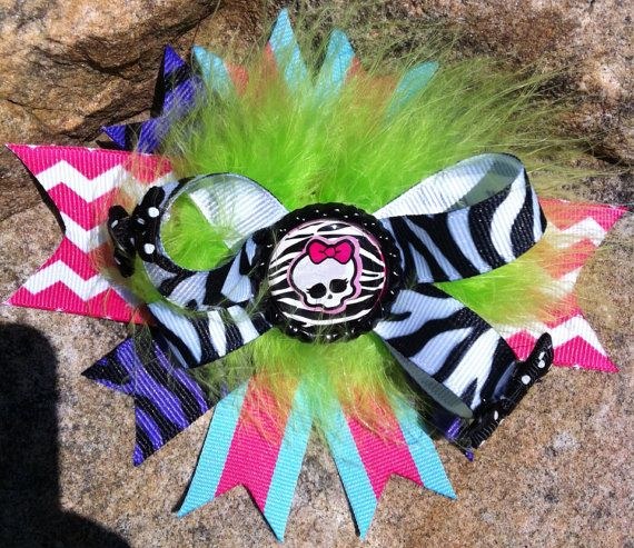 Monster High boutique style feather bow on Etsy, $6.00
