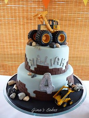 Construction themed cake... use the candy rock recipe & new toy trucks that have been sanitized.