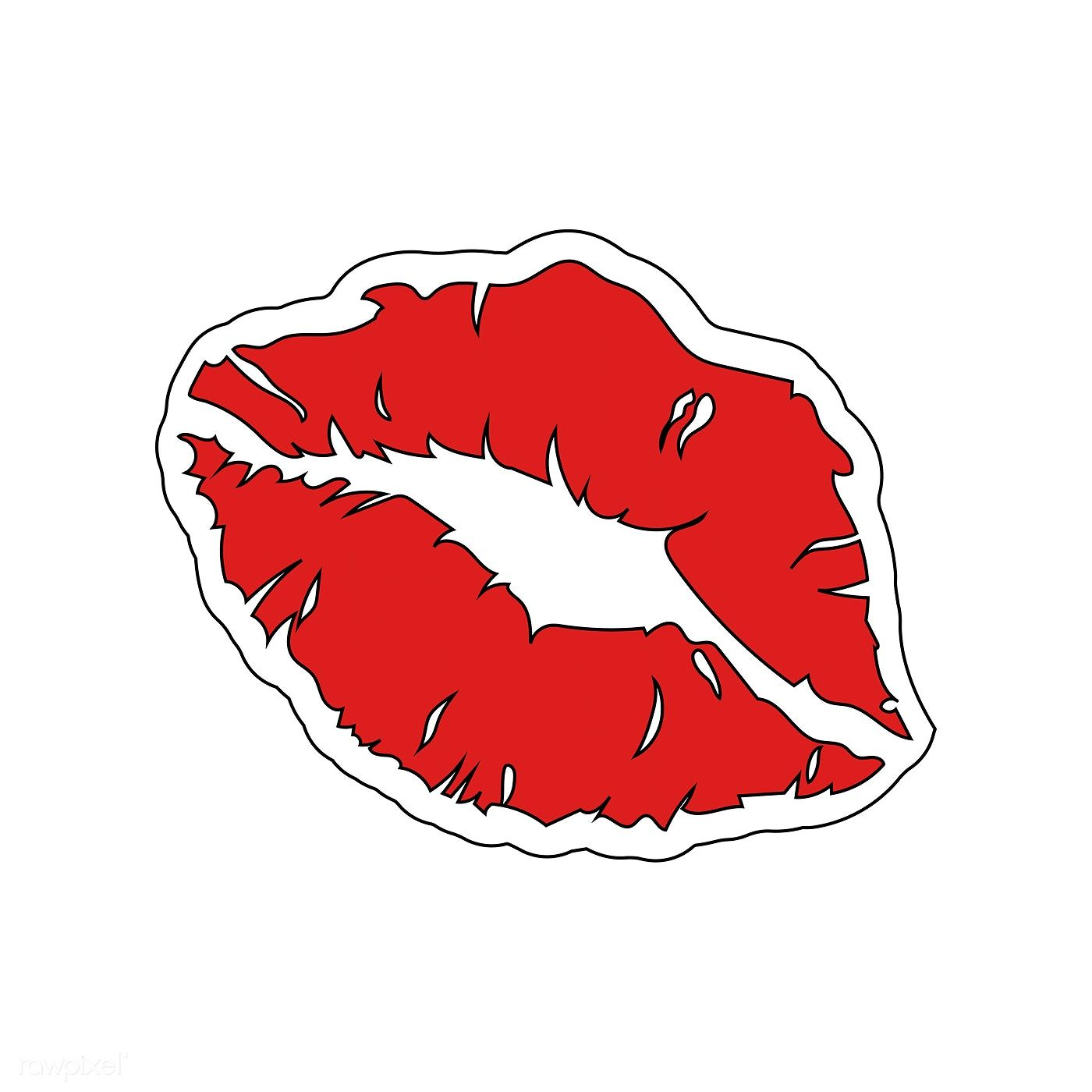 Red Lipstick Print Sticker Vector Free Image By Rawpixel Com Aew