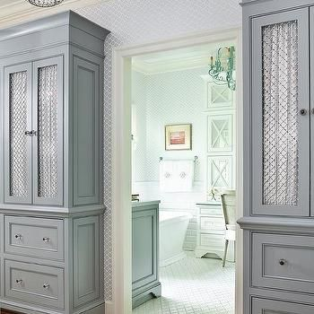 Tall Gray Cabinets with Chicken Wire Doors, Transitional, Bedroom ...