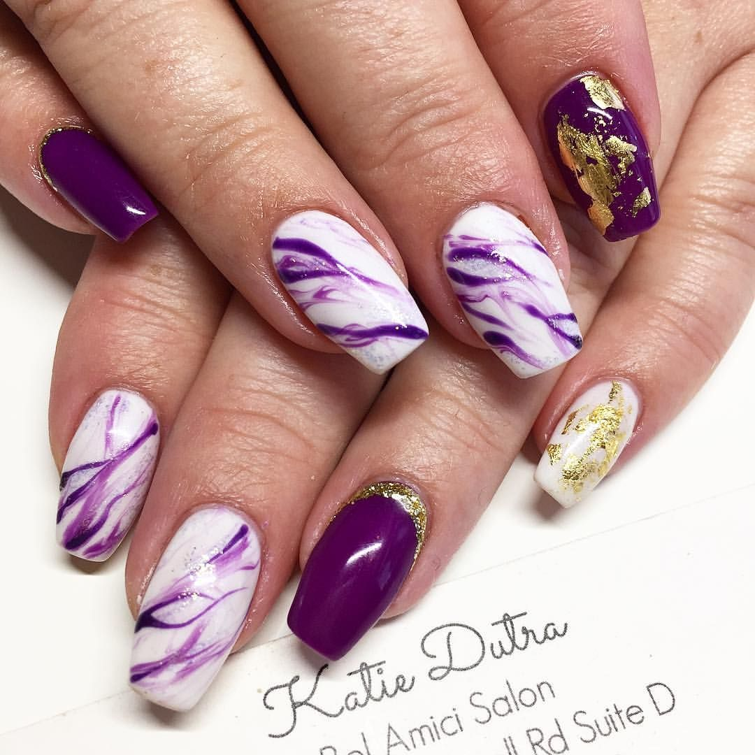 Nail Art Ideas purple and gold nail art : 68 Likes, 4 Comments - Nails By Katie Dutra (@nailsbykatiedutra ...