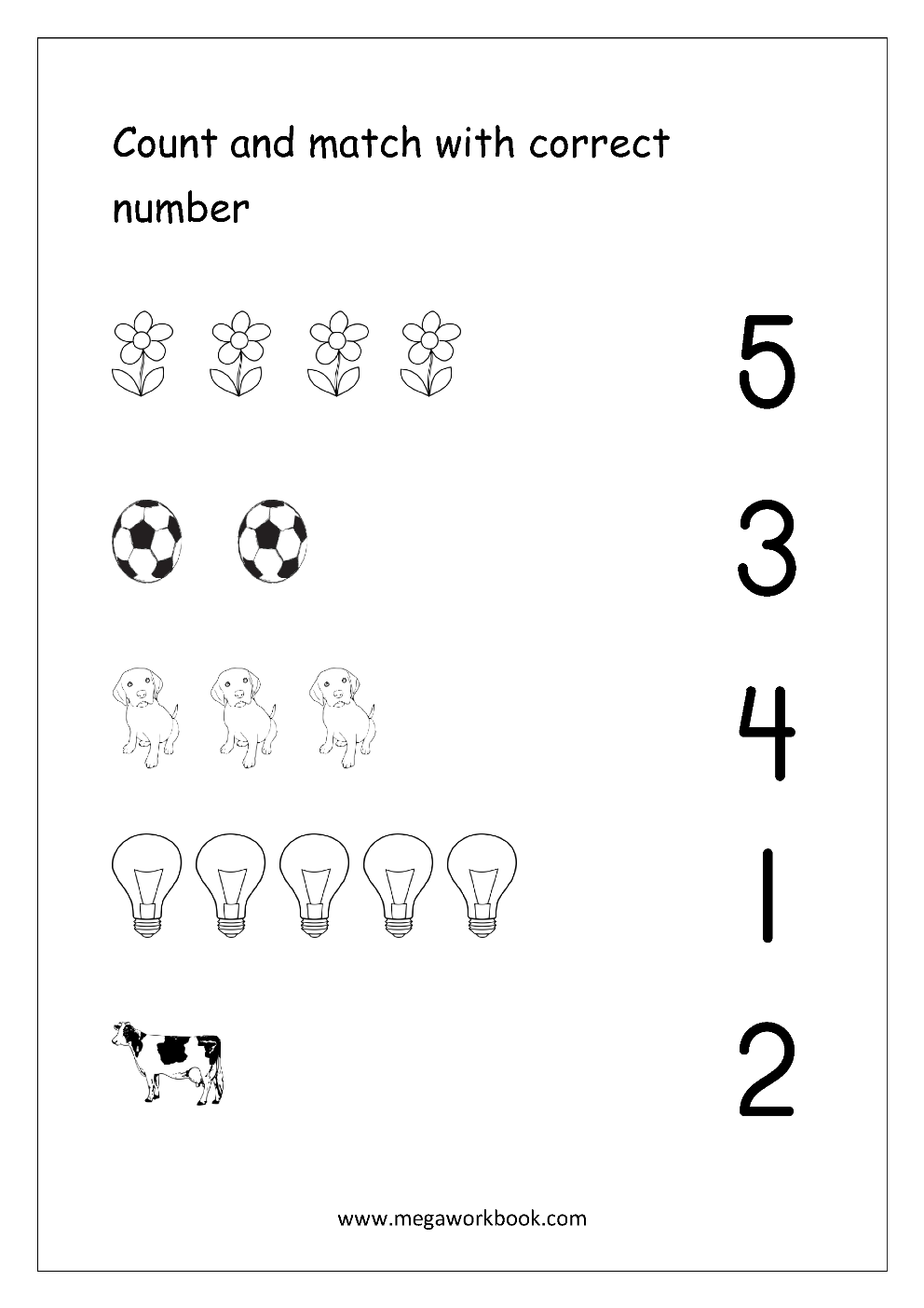 Math Worksheet Count And Match With Number 1 5 Preschool Math Worksheets Numbers Kindergarten Kindergarten Math Worksheets