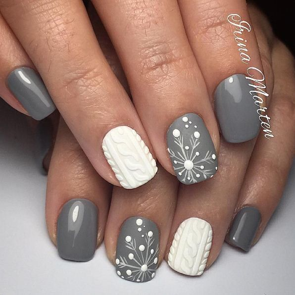 Christmas Acrylic Nails Grey: Grey And White Nail Art Designs
