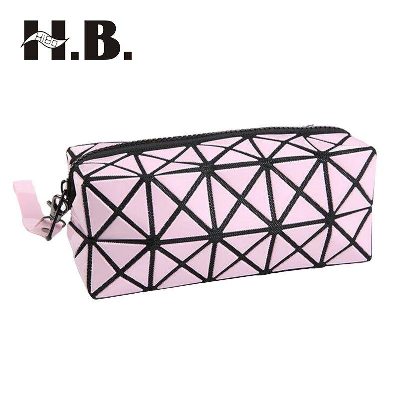a20d6e454b07 HIBO Fashion Geometric Zipper Cosmetic Bag Women Laser Flash Diamond ...