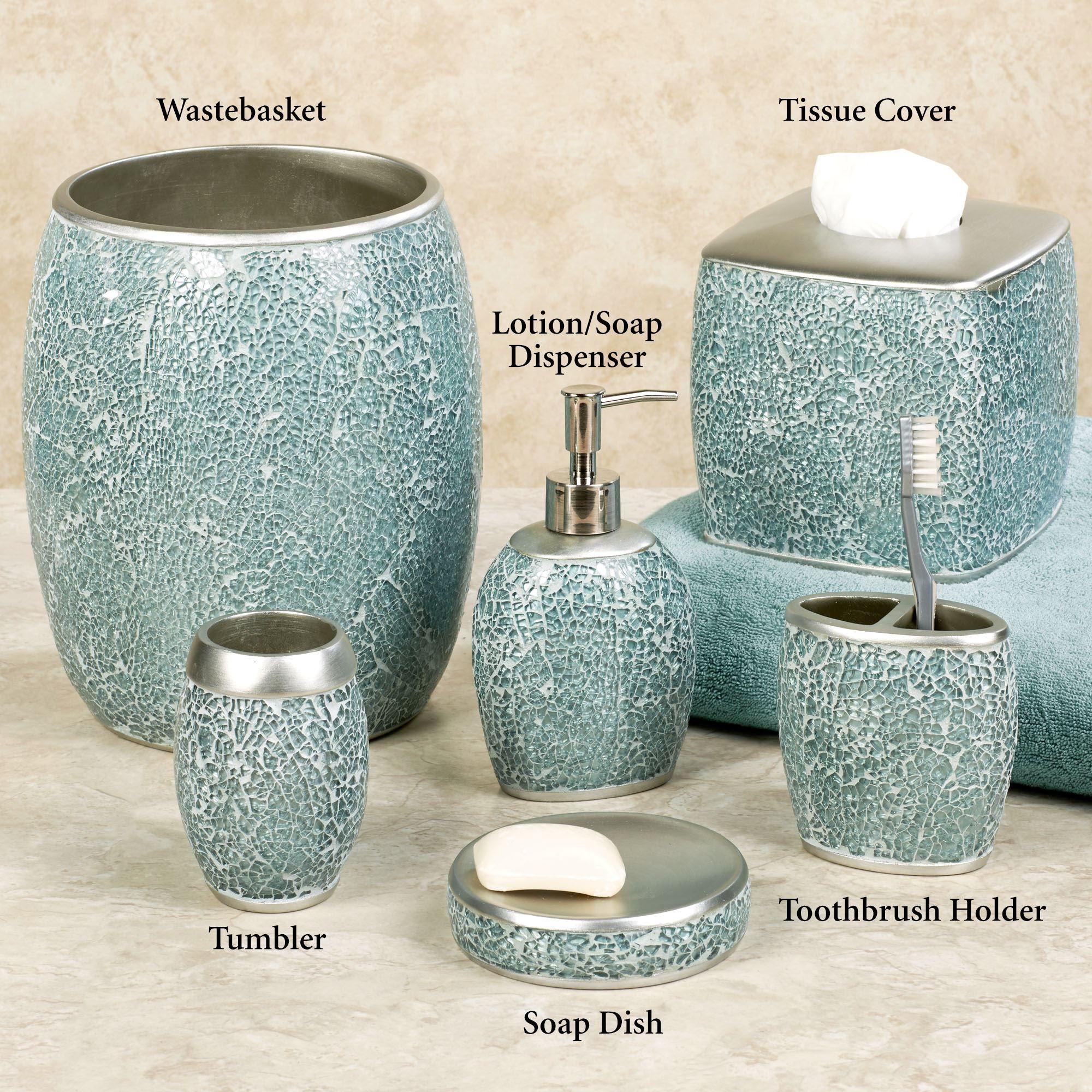 Calm Waters Light Aqua Mosaic Bath Accessories Turquoise