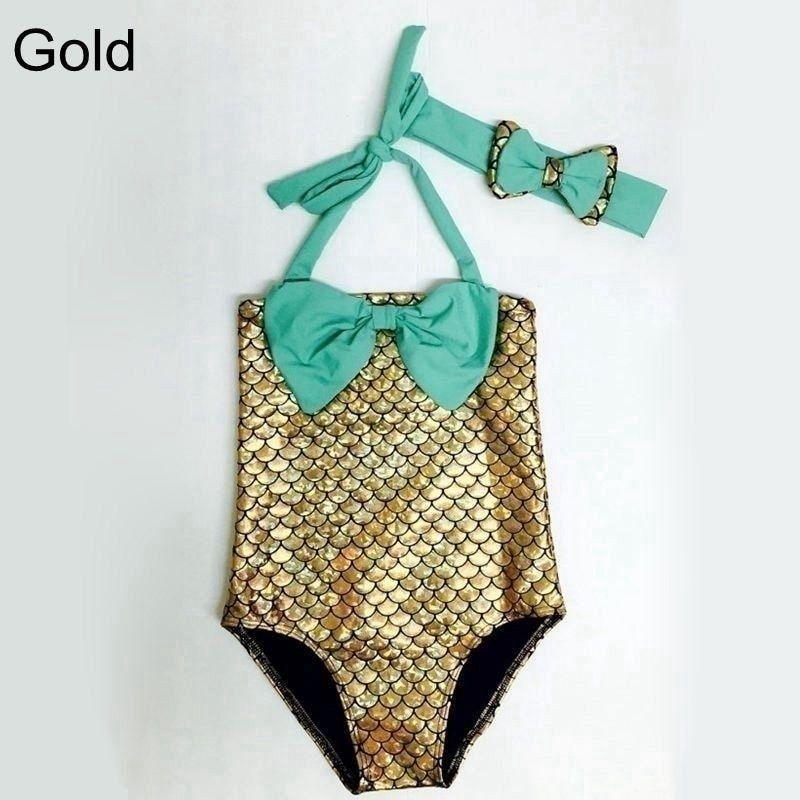 f2d0dac3bf502 2 Pcs/ Set Swimwear+ Hairband Girls Mermaid Bikini Set Swimwear Swimsuit  Bathing Suit Costume Kids Toddler Girls Bathing Suits