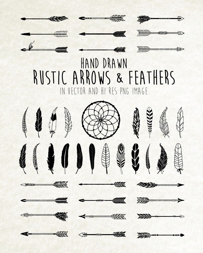 Hand Drawn Rustic Arrows Feathers And Dream Catcher Clipart Etsy How To Draw Hands Dream Catcher Clipart Feather Tattoos
