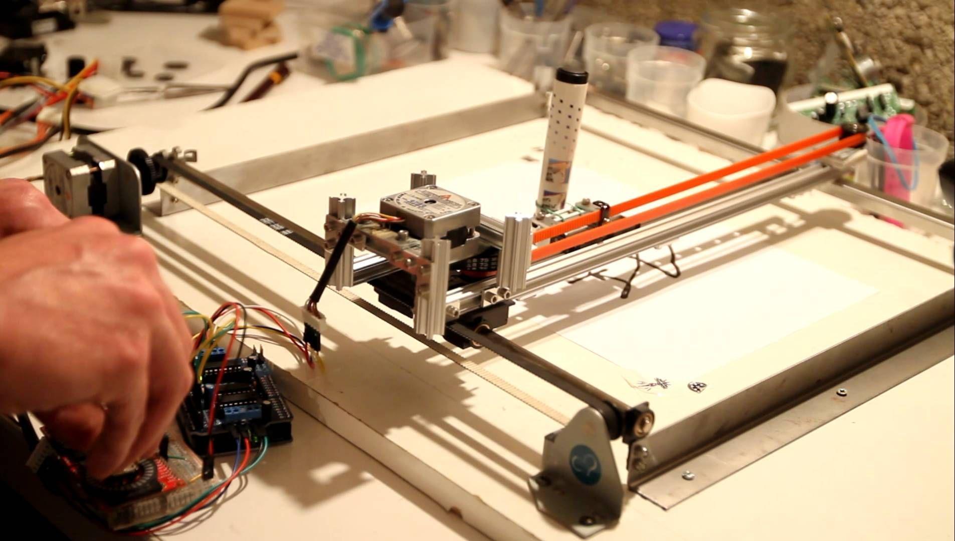 Building a xy plotter from an arduino adafruit motor