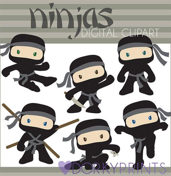 Ninja Clipart Set -Personal and Limited Commercial- Cute Boy Ninjas Clip art