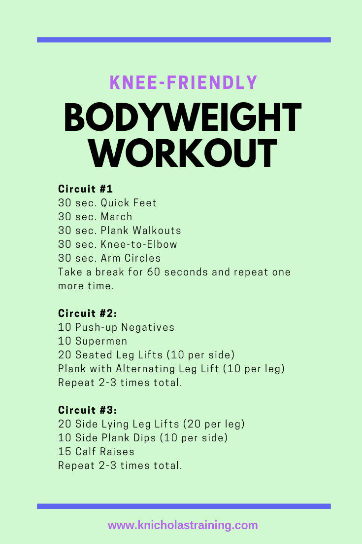 This is a quick, full-body workout for anyone with sore knees. Many of my clients have sensitive kne...