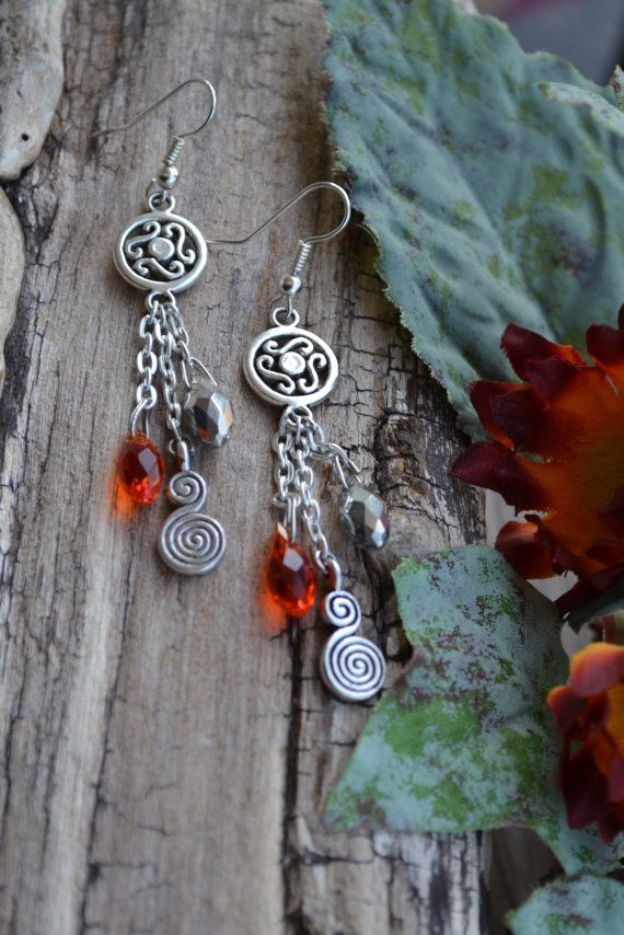 Crystal Dangle Drop Earrings with Silver Charms Red by LKArtChic