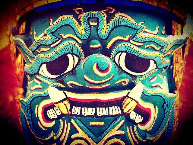 Head of Thai Giant Demon statue Yak Wat Phra Kaew Temple