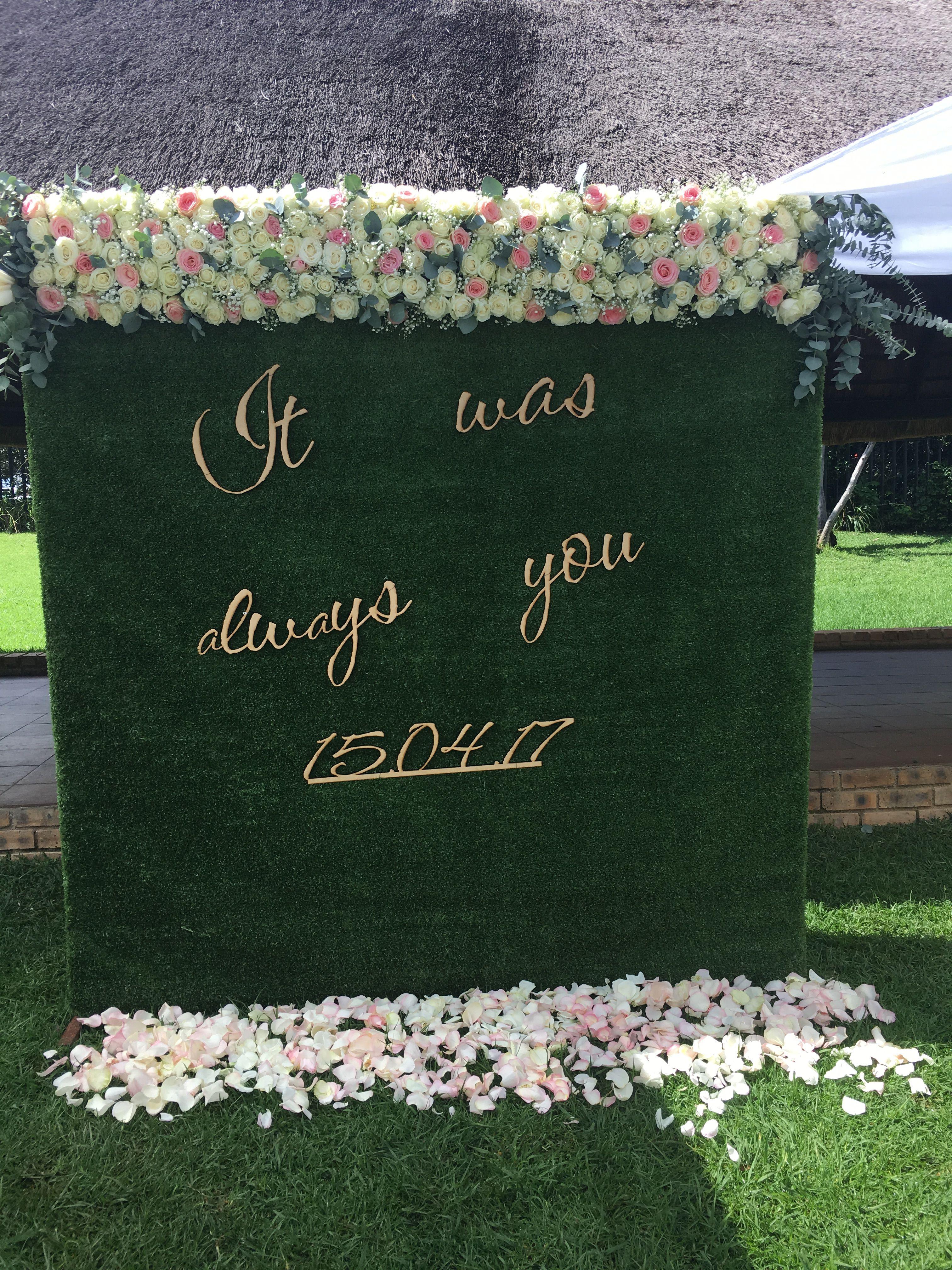 Matrimonial ceremony backdrop #VicWedsAsh #RosePetals #ItWasAlwaysYou #WalterSisuluBotanicalGardens #LokoWedCo
