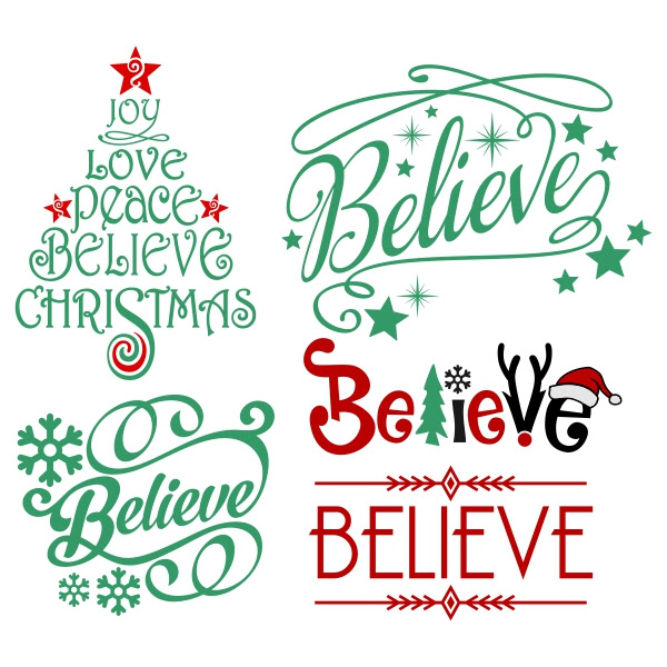 Christmas 'Believe' Five Ways Free Silhouette .Studio