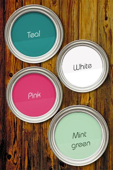 wonderful pink green living room color schemes | Teal Pink White Mint Green | Living room orange, Living ...