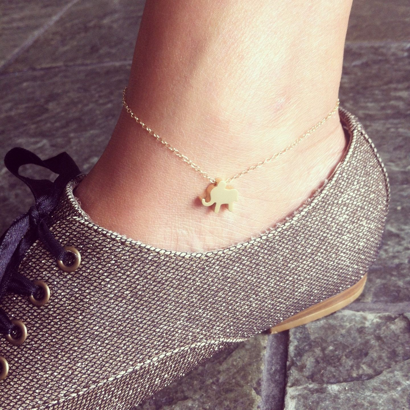 407a6f37395 Items similar to Tiny elephant 14K gold filled anklet