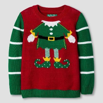 Ugly Christmas Sweater Toddler Girls Elf Body Sweater