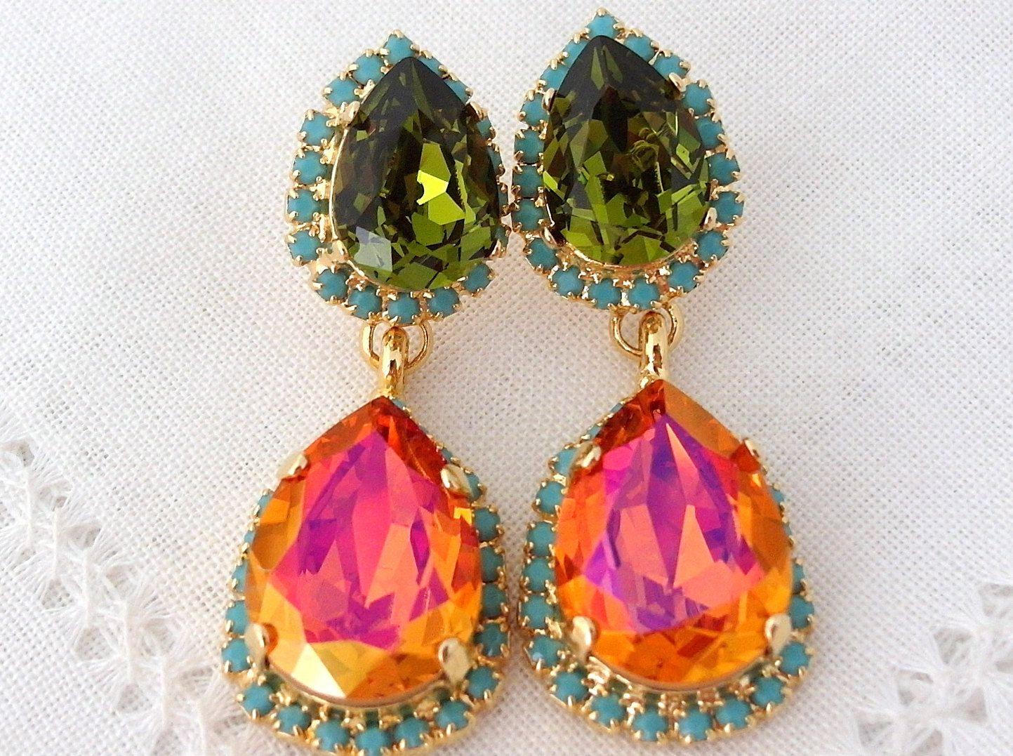 Pink Green and Blue Chandelier Earrings