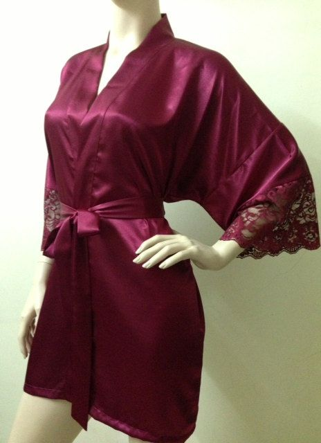 a3060d9428 Silk Satin Kimono Robe in Burgundy Red with Lace Short Kimono Gift for Her  Bridesmaid Robes Wedding