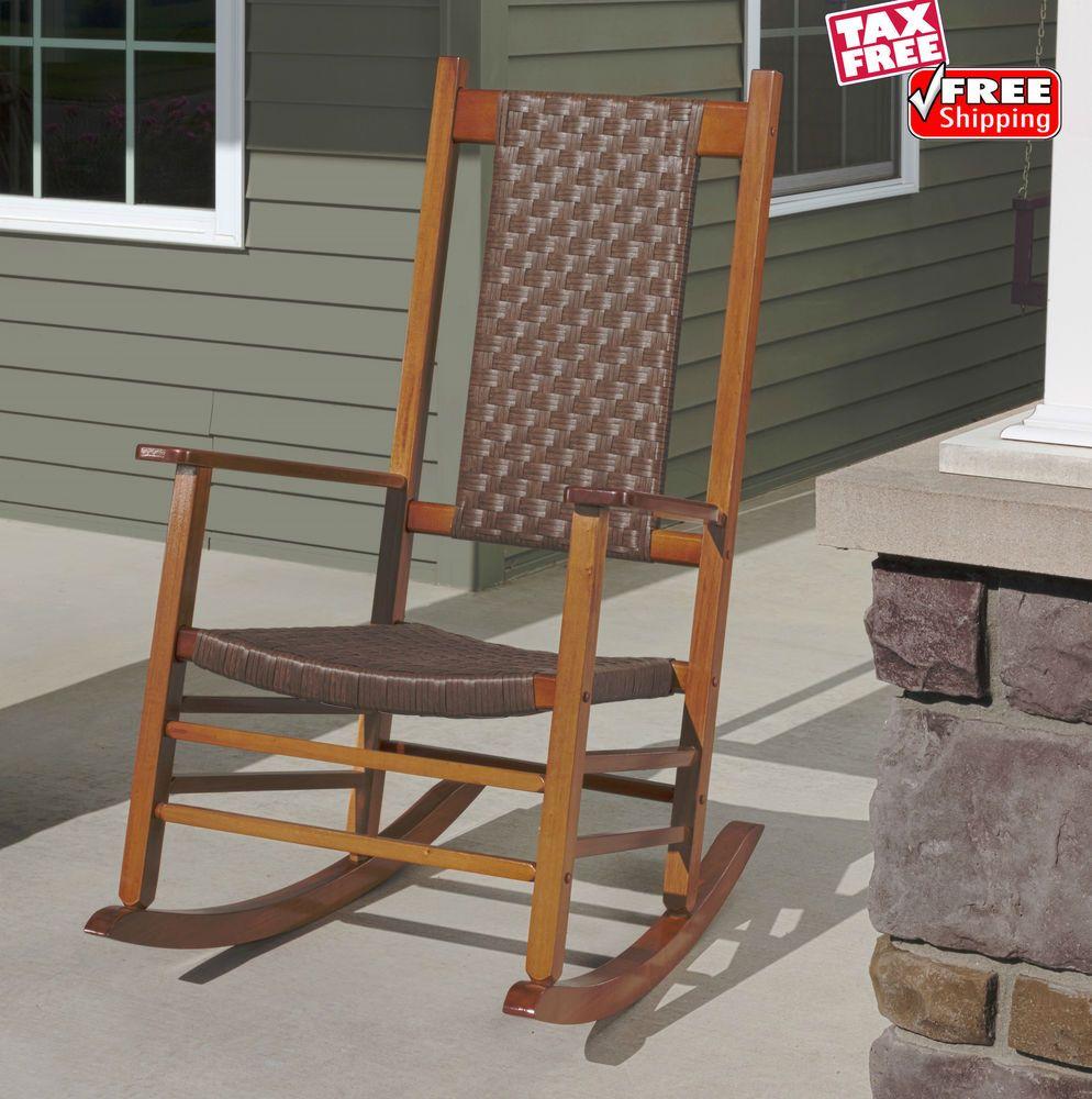 Indoor outdoor wicker rocking chair wooden porch patio swing rocker