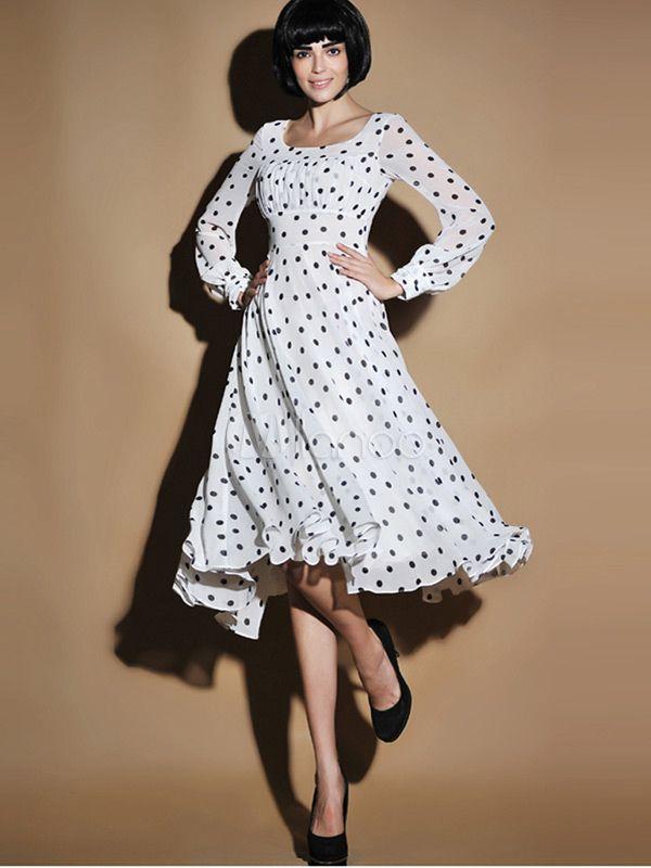 Elegante bolinhas Chiffon Scoop pescoço vestido Maxi - Milanoo.com