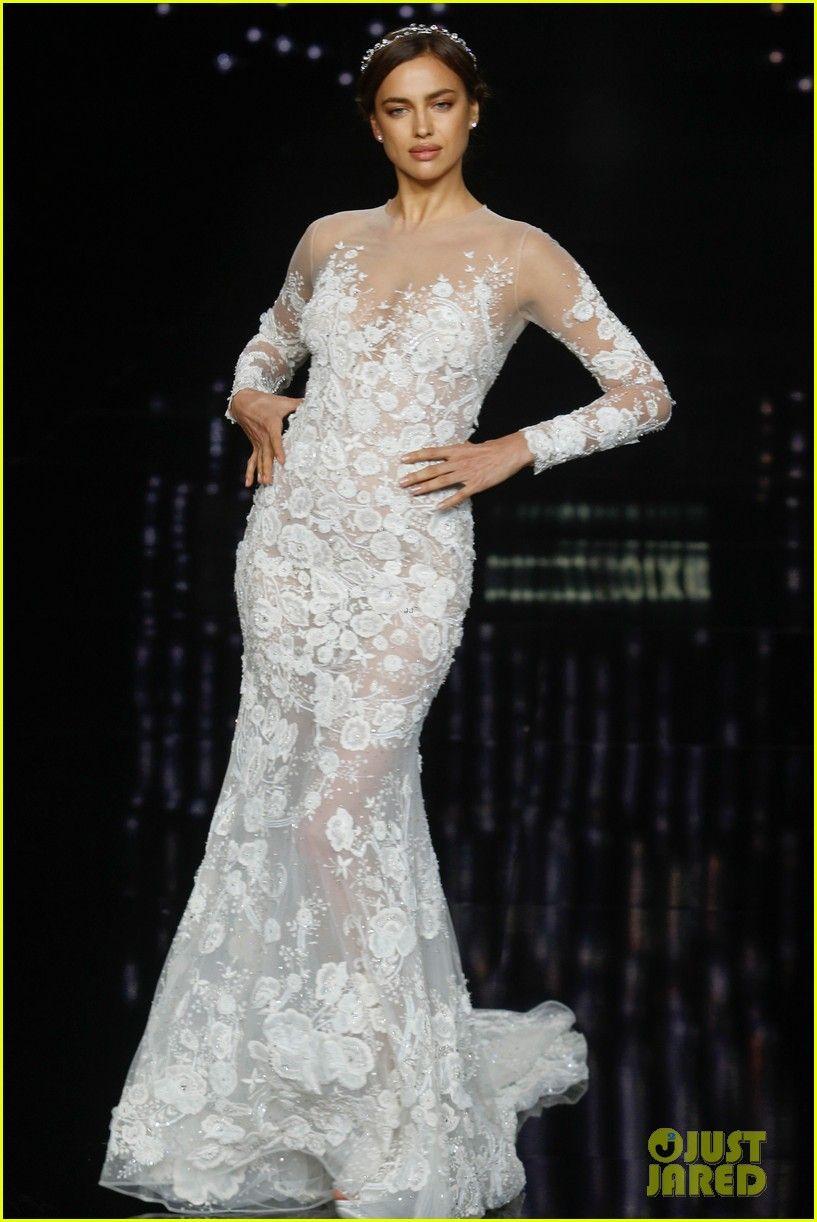 Irina Shayk Models Wedding Dresses for Barcelona Bridal Week ...