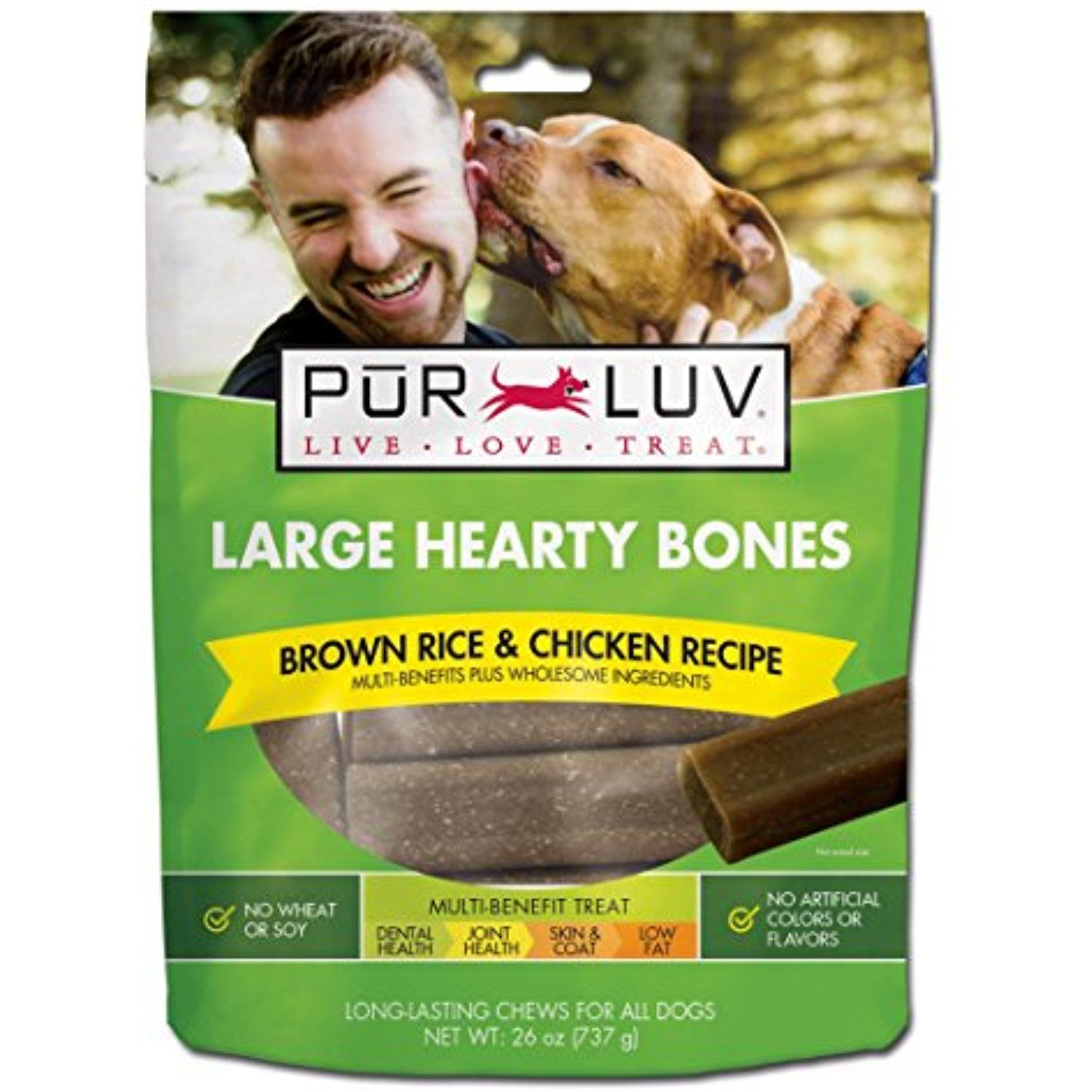 Pur Luv Large Hearty Bones Brown Rice Chicken Recipe 26 Oz