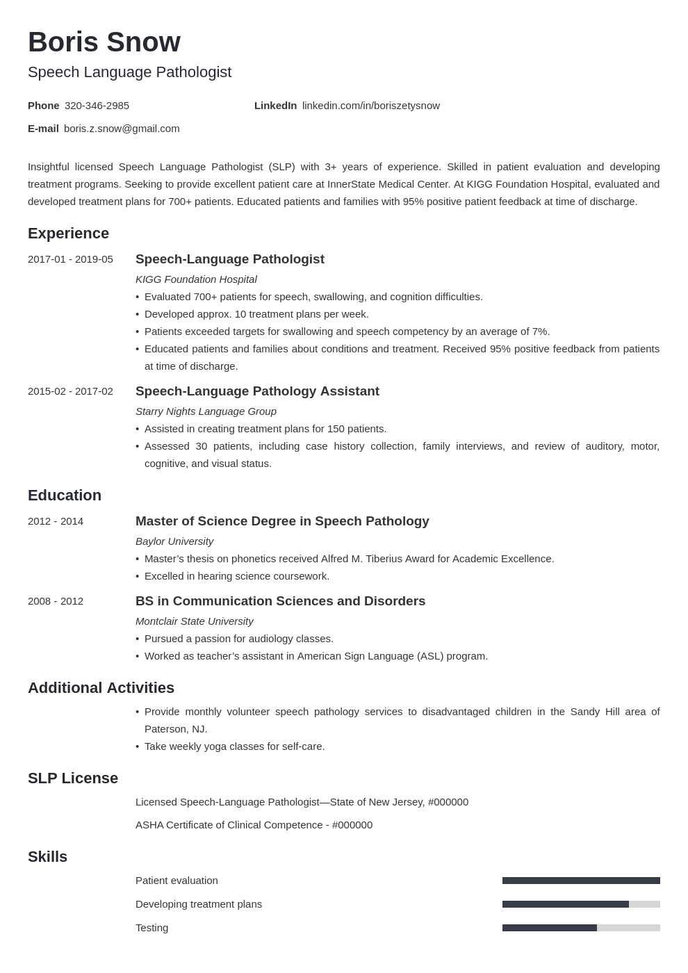 speech pathologist resume example template minimo in 2020